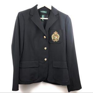 NWT Lauren Ralph Lauren 100% Wool Black Blazer 8 P